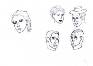 dessin de 5 petits portraits